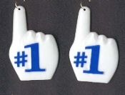 Big #1 BIG FINGER EARRINGS - Sports Dangle CHEERLEADER Collectible Dimensional Charm Jewelry - BLUE