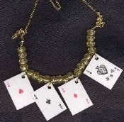 4-ACES PLAYING CARDS NECKLACE-Casino Poker Lucky Charm Jewelry