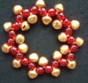 Jingle Bell Bracelet with Glitter or Jewel-Tone Beads-Really Jingles! Funky Christmas Novelty Holiday Costume Jewelry. Over 20- GOLD or SILVER Color Small Size Jingle Bells between GLITTER or JEWEL-TONE acrylic pony beads.*Choose bead and bell color!
