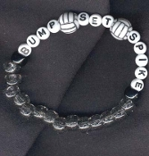 VOLLEYBALL BUMP-SET-SPIKE Stretch BRACELET - Team Coach Jewelry - Alphabet Beads -WHITE LETTERS - Choose Bead Color!