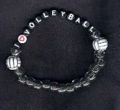 VOLLEYBALL BRACELET - I (LOVE) - Alphabet Beads Team Coach Jewelry -BLACK LETTERS - Choose Bead Color!