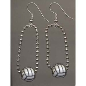 Funky VOLLEYBALL CHAIN EARRINGS - Team Game Player Luck Charm Lucky Coach Gift Jewelry