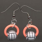 VOLLEYBALL BEAD RING EARRINGS - Coach Charm Gift - Team Player Jewelry - ORANGE Ring. Spike this!