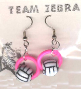 VOLLEYBALL BEAD RING EARRINGS - Coach Charm Gift - Team Player Jewelry - PINK Ring. Spike this!