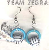 VOLLEYBALL BEAD RING EARRINGS - Coach Charm Gift - Team Player Jewelry - BLUE Ring. Spike this!