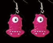 Funky Huge HOT PINK ONE-EYE CYCLOPS ALIEN MONSTER EARRINGS - Big colorful plastic funny Halloween sci-fi weird creepy creature costume jewelry charms. Could she be a cousin of the famous flying purple people eaters???