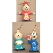 ALVIN & the CHIPMUNKS EARRINGS & NECKLACE Jewelry SET - ALVIN NECKLACE, Simon & Theodore EARRINGS - Retro TV Cartoon Jewelry