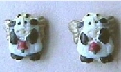 Teeny Weeny, Itsy Bitsy COW ANGEL BUTTON EARRINGS - Dairy Milk Farm Painted Resin Charm Gift Jewelry