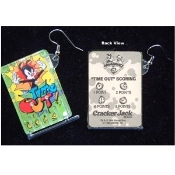 Huge Funky ANIMANIACS PINBALL GAME EARRINGS Novelty Character Costume Jewelry - TIME OUT Sports Team - Real Mini Pin Ball Puzzle Collectible Toy. Genuine Circa 1996 Vintage Miniature Cracker Jack Prizes Plastic Charms.