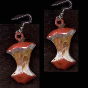 APPLE CORE EARRINGS - HUGE Vintage Vending Funky Food Charm Jewelry