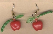 Red APPLE with WORM EARRINGS - Teacher Farm Doctor Food Vintage Beads Charm Jewelry