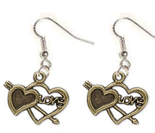 DOUBLE HEART LOVE EARRINGS - Antiqued Gold Pewter Metal Love Charms Jewelry