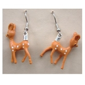 Funky Tiny Miniature Vintage BABY DEER EARRINGS - Cute Big-Ear Reindeer Forest Animal Novelty Costume Jewelry - Mini plastic dimensional hunter inspired toy, rare Hong Kong diorama charms. Bambi and Rudolph lovers unite!