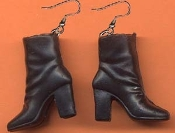 BARBIE ANKLE BOOTS / SHOES EARRINGS - Black - Novelty Miniature Toy Jewelry