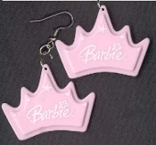 BARBIE CROWN / PRINCESS TIARA EARRINGS - Doll Collectible Jewelry - PASTEL PINK - BIG Dimensional Charm