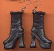 BARBIE PLATFORM BOOTS / SHOES EARRINGS - Black - Novelty Mini Fashion Doll Toy Jewelry