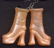 BARBIE PLATFORM BOOTS / SHOES EARRINGS - Orange - Novelty Mini Fashion Doll Toy Jewelry