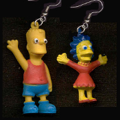 The Simpsons - BART and LISA EARRINGS - BIG Mini Figure Funny Dysfunctional TV Cartoon Character Theme Family Brother and Sister Duo Mismatched Costume Jewelry - Miniature funky novelty toy charm - Just arrived from Springfield with Matt Groening!