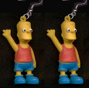 The Simpsons - BART EARRINGS - BIG Mini Figure Funny Dysfunctional TV Cartoon Family Character Theme Costume Jewelry - Matt Groening inspired miniature funky novelty toy charm. I'm Bart Simpson from Springfield. Who the Hell are You?