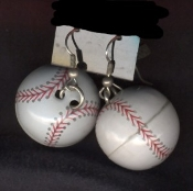 Funky Big BASEBALL SOFTBALL EARRINGS - Coach Umpire 3-d Novelty Costume Jewelry - Team Sports Fan, Player Award Charm Gift Wear - Detailed Dimensional Enameled hollow metal sphere charms. Take me out to the Ball-Game!
