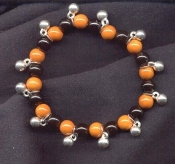 BEADS STRETCH BRACELET - Great-for-Charms - Orange/Black/Silver - Costume Jewelry