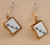 Tiny BIBLE EARRINGS - WWJD - Church Faith CHARM Jewelry - Graduation Gift / Religious Quinceanera / Communion / Confirmation - GOLD-tone Vintage