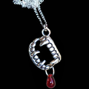 Funky Small Bite Me - Fang Banger - True Blood VAMPIRE FANGS FALSE TEETH with BLOOD DROP PENDANT NECKLACE Gothic Slayer Costume Jewelry Pewter Fangs Charm. True Blood, Twilight, Vampire Diaries, Buffy, Dusk Til Dawn, Underworld character inspired