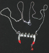 Large Funky Bite Me - Fang Banger - True Blood Drop VAMPIRE FANG with BLOOD DROP PENDANT NECKLACE Gothic Costume Jewelry. True Blood, Twilight, New Moon, Vampire Diaries, Dusk Til Dawn, Buffy the Vampire Slayer character inspired