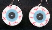 Dangle EYEBALL EYES EARRINGS - Funky Halloween Costume Body Parts Jewelry -FLAT