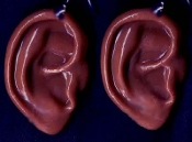Body Parts EARS DANGLE EARRINGS - Creepy Halloween Realistic 3-D Freaky Gothic Costume Jewelry -AA