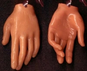 Body Parts HAND FINGERS DANGLE EARRINGS - Creepy Halloween Realistic 3-D Freaky Gothic Costume Jewelry -TAN