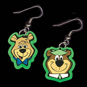 Huge YOGI BEAR & BOO-BOO EARRINGS - TV Movie Character Jewelry