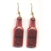 BOTTLE of BOOZE - LIQUOR EARRINGS - Bar - Restaurant - Bartender Jewelry - METALLIC RED Plastic Charm