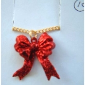 BOW RED GLITTER RIBBON PENDANT NECKLACE-Holiday Charm Jewelry
