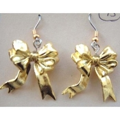 Yellow GOLD RIBBON BOWS EARRINGS - Support Our Troops - Charm Jewelry