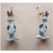 Funky Mini Figure BUGS BUNNY EARRINGS - Famous Looney Tunes Novelty Costume Jewelry - Favorite funny classic cartoon comics character animal theme dangle charm fully dimensional figurine.