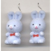 HUGE Funky Fuzzy BUNNY EARRINGS - Cute Mini Easter Spring Garden Rabbit Toy Pet Costume Jewelry - Adorable Pastel BLUE Flocked Plastic Miniature Animal Charm, approx. 1.25-inch (3.13cm) Tall.
