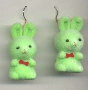 HUGE Funky Fuzzy BUNNY EARRINGS - Cute Mini Easter Spring Garden Rabbit Toy Pet Costume Jewelry - Adorable Pastel GREEN Flocked Plastic Miniature Animal Charm, approx. 1.25-inch (3.13cm) Tall.