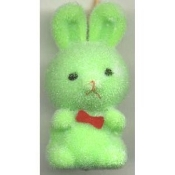 HUGE Funky Fuzzy BUNNY PENDANT NECKLACE - Cute Mini Easter Spring Garden Rabbit Toy Pet Costume Jewelry - Adorable Pastel GREEN Flocked Plastic Miniature Animal Charm, approx. 1.25-inch (3.13cm) Tall on 18-inch (45cm) Neck Chain with safety clasp.
