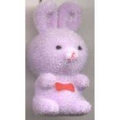 HUGE Funky Fuzzy BUNNY PENDANT NECKLACE - Cute Mini Easter Spring Garden Rabbit Toy Pet Costume Jewelry - Adorable Pastel LAVENDER PURPLE Flocked Plastic Miniature Animal Charm, approx. 1.25-inch (3.13cm) Tall on 18-inch (45cm) Neck Chain.