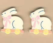 BUNNY with Wagon BUTTON EARRINGS-Garden Rabbit-WOOD Farm Jewelry
