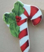 Wood CANDY CANE HOLLY PIN BROOCH - Crafts Xmas Button Jewelry
