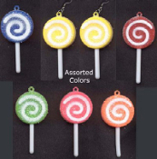 Huge SUCKER LOLLIPOP CANDY EARRINGS - Novelty Junk Food Charm Jewelry -1-PAIR
