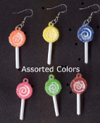 SMALL SUCKER LOLLIPOP CANDY EARRINGS - Novelty Junk Food Charm Jewelry -1 PAIR