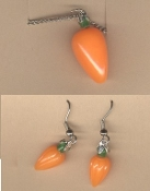Miniature CARROT PENDANT NECKLACE & EARRINGS SET - Easter BUNNY Food Rabbit Farm Spring Garden Farmer Gift - 3- 'KARAT' costume jewelry!!!