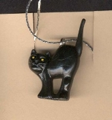 CAT BLACK PENDANT NECKLACE AMULET-3d Lucky Gothic Witch Jewelry