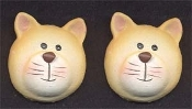 Huge Tan KITTY CAT BUTTON POST EARRINGS - Pet Feline Veterinarian Jewelry
