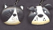 Huge CAT & DOG FACE EARRINGS - BLACK & WHITE Pet Vet Charm Jewelry