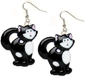 Huge BLACK & WHITE TABBY CAT EARRINGS - Funky Kitty Veterinarian Charm Jewelry