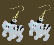 Huge GREY TABBY CAT EARRINGS - Funky Kitty Veterinarian Charm Jewelry